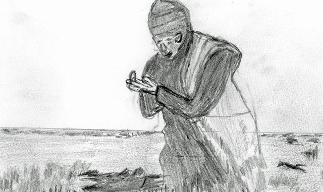 砂漠にかすかに生える草から食べられる部分を探す人(絵・筆者)