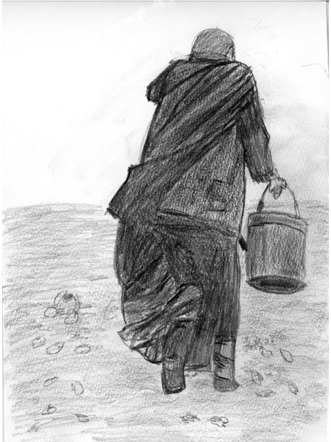 水を汲みに(絵・筆者)