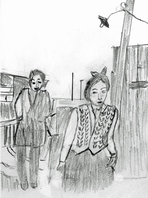 「浮雲」(1955)。富岡(森雅之)と再会するゆき子(高峰秀子)(絵・筆者)