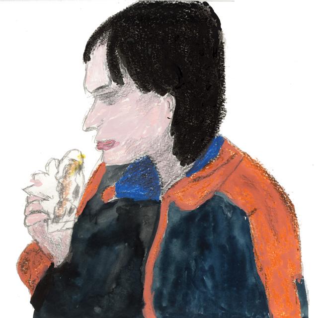 工場を解雇された後、泣きながらワッフルを頬張るロゼッタ(エミリー・デュケンヌ)(絵・筆者)