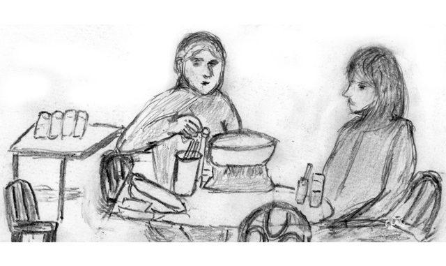 セルフサービスの店でテグタン(タラ鍋)をつつくセビンとドゥホン(絵・筆者)