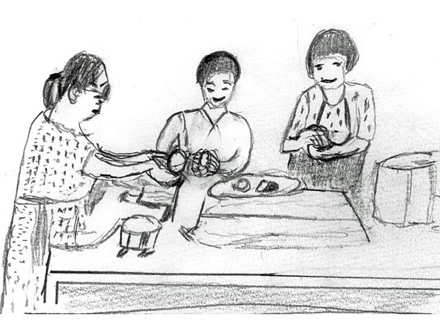 厨房でおにぎりを作るマサコ、サチエ、ミドリ(絵・筆者)
