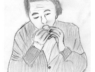 フグの白子焼きを食らう納棺師の佐々木(絵・筆者)