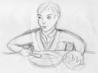 アンドレウ(フランセス・クルメ)に与えられた食事は黒パンとスープだけの粗末なもの(絵・筆者)