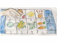 「2001年宇宙の旅」(1968)。今はなきパンアメリカン航空のスペースシャトル「オリオン号」で出された宇宙食。惣菜ごとに8つに小分けされ、無重力下のためストローで吸引して食する(絵・筆者)