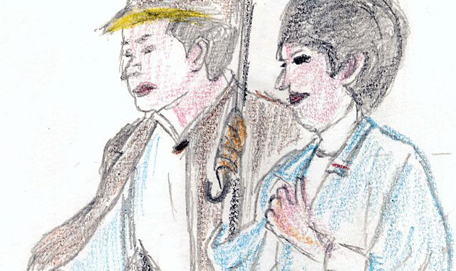 「男はつらいよ 寅次郎紅の花」(1995)。満男と泉の若いカップルを見つめる寅さんとリリーの眼差し(絵・筆者)