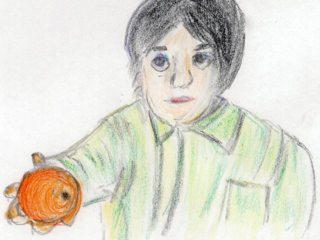 逃亡兵にリンゴを手渡すアナ(絵・筆者)