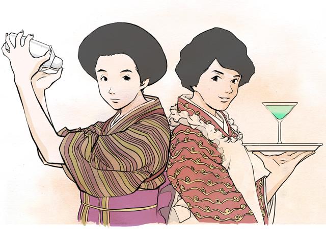 姉の宮垣みね子(左)と妹のとし子