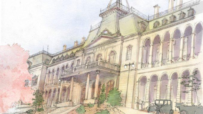 明治23年に開業した初代の帝国ホテル(画・藤原カムイ)