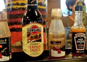 ブダペストのホテルのモーニング・ビュッフェで見かけた「日式(中国語で「日本式」)調味料のテリヤキソース。