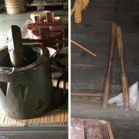 横杵(左、白川郷)と竪杵(右、遠野)