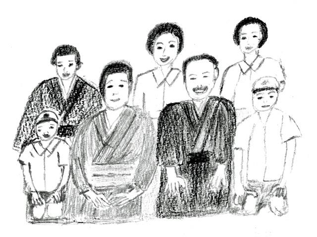 「麦秋」の記念撮影(絵・筆者)