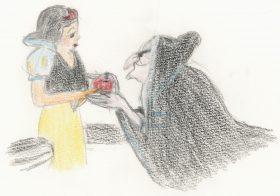 「白雪姫」(1937)。老婆に変身した継母にリンゴを勧められる白雪姫