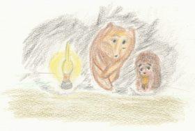 「霧につつまれたハリネズミ」(1975)。お茶を飲みながら星空を眺めるコグマとハリネズミ