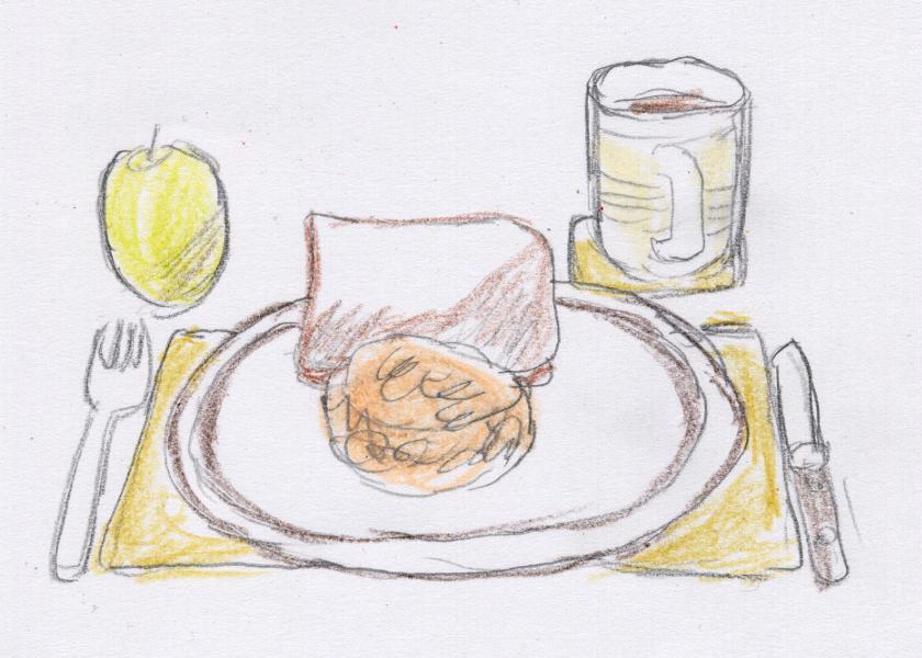 食パンに魚の缶詰、リンゴ、紅茶というメニューがジョン・メイの毎日の夕食である。