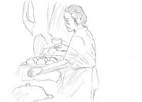 逃亡中の夫のために大量の饅頭を作る妻のワンイー(コン・リー)