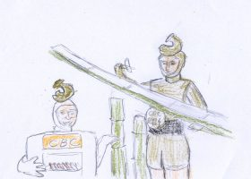 「劇場版 SPEC 天」。餃子ロボ親父(左)と見習いの2G(右)による流し餃子