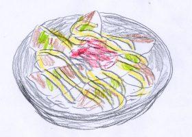 「劇場版 SPEC 結」。マヨネーズをトッピングした餃子ロボ親父特製「焼き餃子丼」