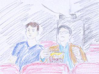 アンドリューとジムの親子はレーズン入りのポップコーン片手に「男の争い」を観る