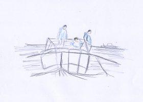 淡路島の海苔の養殖の様子
