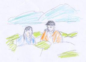 恵子(左)は岳志(右)の畑を訪れる