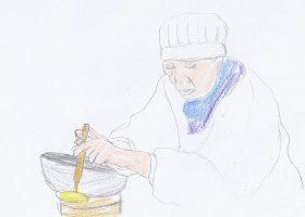 映画「あん」より。どら焼きを作る徳江(樹木希林)
