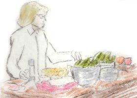 「最後の晩餐会」に向け料理の支度に余念のないシャーロット。