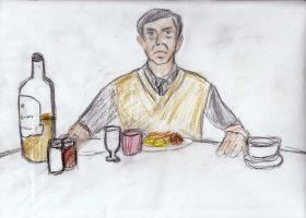 フレッドは毎日決まった時間に決まった夕食を妻と息子の写真と差し向かいでとっていた