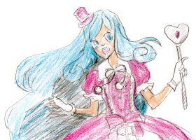 図1「魔法少女ユキコ」。アイドル風のコスチュームや魔法のステッキ等に、「魔法の天使クリィミーマミ」(図2)との類似性が見える。