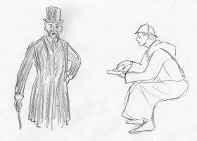 「正典」の挿絵に描かれたインバネスコートに鹿撃ち帽の出で立ち(右)とは異なり、本作のホームズはフロックコートを着こなしシルクハットを被る