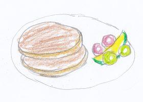 病室に運ばれてきたパンケーキがジャックの外の世界での最初の食事となった