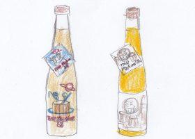 江戸時代の製法で作られた超甘口の「玉川Time Machine」。江戸時代の酒蔵の風景を描いた「1712」(右)のラベルには顔が玉川ロゴのロボットが蔵人として紛れ込み、「88」(左)ではそのロボットたちが未来の宇宙に移動し惑星で酒を仕込んでいる。