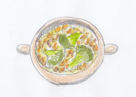 冬野菜の雑穀(ミレット)スープ。2人の出会いとなった料理である。