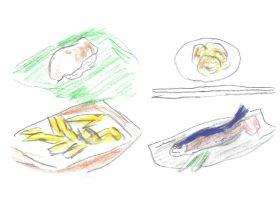 春の旬/左上・鳥貝の握り(第三春美鮨)、左下・白魚の天ぷら(みかわ是山居)。夏の旬/右上・茹で立て鱧梅肉添え(神楽坂 石かわ)、右下・鮎の炭火焼き(神宮前 樋口)