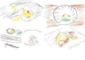 秋の旬/左上・帆立(ESqUISSE)、左下・秋刀魚の塩焼き(フードスタイリスト 新田亜素美)と鱈白子(ESqUISSE)。冬の旬/右上・ふぐの薄造り(浅草みよし)、右下・赤むつ柚子庵焼き(銀座小中)