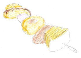 数種のドーナツにエクレア、シュークリーム、マシュマロ、バームクーヘンの串刺し。Lの甘いもの好きを象徴するスイーツである。