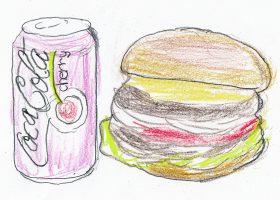 「メルズ・ドライブイン」のダブルチャビーチャック(右)とチェリーコークの想像図