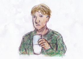 """次席士官があおって見せる、コンデンスミルクにレモン汁と砂糖を混ぜて作った""""Uボートカクテル"""""""