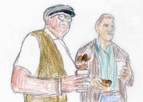 """レイ・キンセラ(右)は、テレンス・マン(左)とボストン・レッドソックスの本拠地フェンウェイ・パークでホットドックを手に野球を観戦しているときに""""第3の声""""を聞く"""