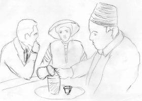 「カサブランカ」:通行証の手配を頼みに来たラズロとイルザを闇商人のフェラーリはイブリックで淹れたアイスコーヒーでもてなす。