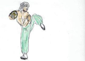 酒壺を抱えながら酔八仙拳の型を決めるフェイフォン(ジャッキー・チェン)