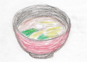 セットメニューの一つとして提供されている「デニーズ」の油揚げとねぎとわかめの味噌汁