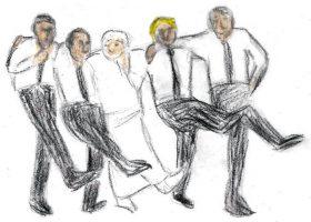 師匠(中央)の遺体と肩を組んでラインダンス風「かんかんのう」を踊る弟子たち。