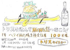 寿屋(現・サントリー)の「トリスを飲んでHawaiiに行こう!」の広告。コピーは山口瞳、イラストは柳原良平。