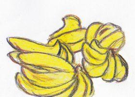 「百円の恋」。試合前で減量中のボクサー、狩野は1房100円のバナナを大量に買っていく。