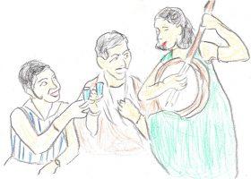 「マダムと女房」のスチール写真より。マダム(左)と新作(中央)が持っているのはリキュールグラスに見えるが、実際の映画で使われたのはウイスキーの入ったタンブラーである。
