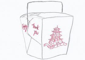 アメリカ流ファストフード中華のテイクアウトやデリバリーに使われている板紙製の容器オイスターペイル(oyster pail)。