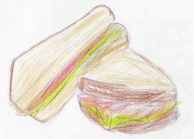 「記憶探偵と鍵のかかった少女」でジョンがアナのために用意した、ハムとレタスのシンプルなサンドイッチ。