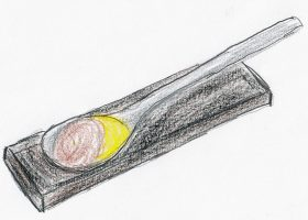 卵黄にトリュフのエキスを注入した「トリュフ卵」。「アスルメンディ」を象徴する一品である。