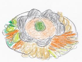 モニカが年越しパーティーのために作ったカニのディップ。周囲にチップスや野菜ステックが添えられている。
